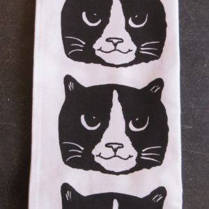 black and white cat head teatowel