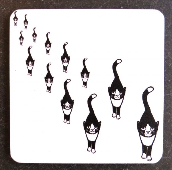 coaster, black and white cat gifts, drinks coaseter, designer coasters, cat gifts, cat presents