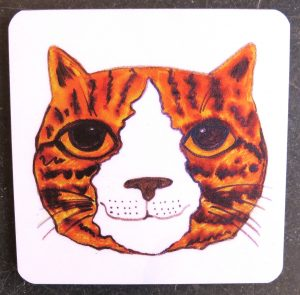 coasters, cat coaster, cat gifts, ginger cat gifts
