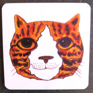 ginger and white cat head coaster