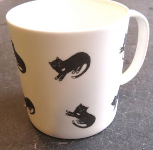 mug, large mug, bone china mug, cat mug, pottery cat mug, designer cat mug, jane adams ceramics, cat illustrations, pawprint designs