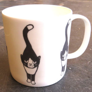 large bone china mug stalking cat