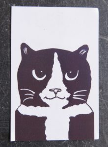fridge magnet, magnet, vinyl magnet, cat fridge magnets, jane adams, presents for cat lovers, cat gifts, cat themed presents, black and white cat, pawprint designs