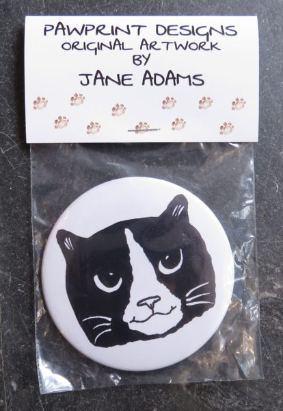 handbag mirror, purse mirror, black and white cat, gifts for cat lovers, jane adams, pawprint designs
