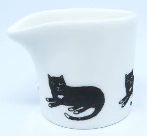 bone china jug, tiny jug, creamer, indiidual creamer, pawprint designs, cat jug, cat theme, cat present, cat gift, jane adams ceramics