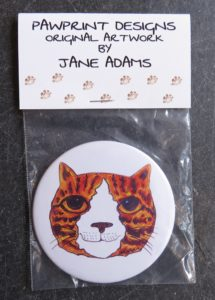 handbag mirror, small mirror, purse mirror, cat mirror, cat illustration, ginger cats, gifts for cat lovers, cat presents, cat theme presents, jane adams, pawprint designs, cornwall