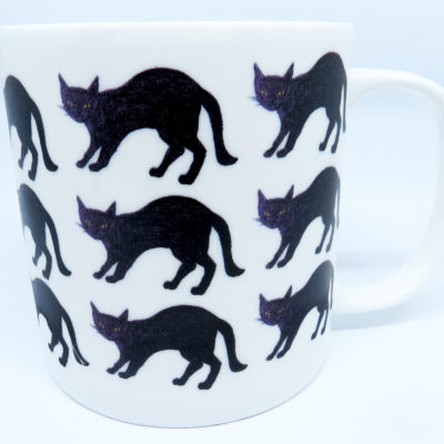 Large Bone China Mug Pouncing Black Cat repeat design