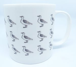 seagull mug, mug with seagulls on, seagull drawings, segaull repeat pattern, tea mug, coffee mug, jane adams ceramics, pawprint designs, cornwall, st just