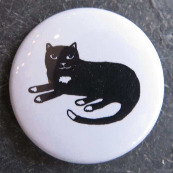badge, lapel pin, cat art, ca, jane adams ceramics, pawprint designs, cornwallt badge, black cat badges