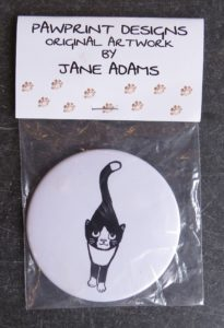 mirror, handbag mirror, purse mirror, cat themed presents, cat gifts, cat illurstation, black and white cats, jane adams, cornwall, pawprint designs