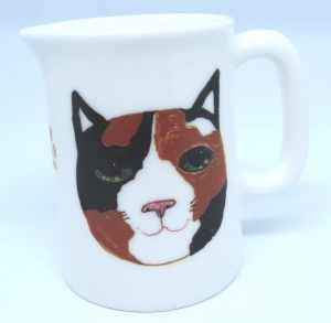 jug, bone chine jug, small jug, cat theme gift, cat jug, tortie cat face, cat gift, pottery cat jug, jane adams ceramics, paw print designs, cornwall, st just