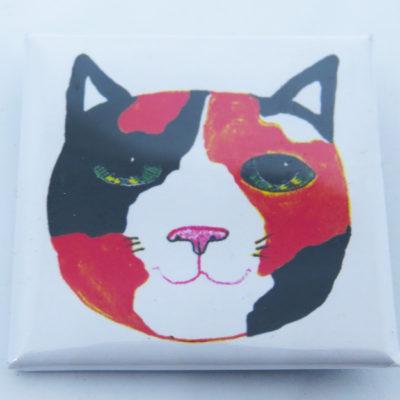 square lapel pin badge tortie cat