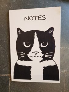 notes, notebook, black and white cat, sketchbook, cat merchandise, cat gifts, black and white cats, pawprint designs, original artwork, book, jane adams, st just, cornwall