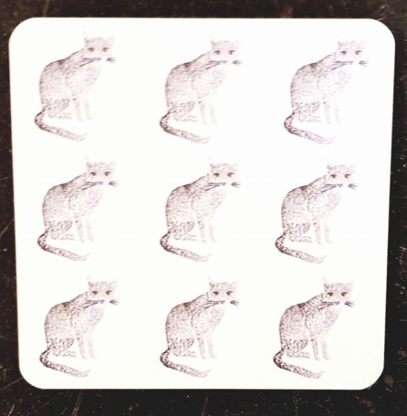 coaster, cat coaster, grey cat coaster, grey cats, cat illustrations, pawprint designs, designer cat coaster, cat presents, cat themed gifts, jane adams gallery, pawprint designs, the jane adams gallery, jane adams ceramics, st just, cornwall