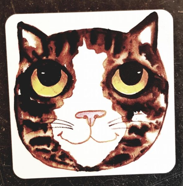 coaster, cat coaster, cat artwork, cat images, cat illustration, pawprint designs, jane adams ceramics, the jane adams gallery, cornwall, st just,