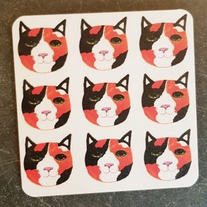 coaster, designer coaser, cat coaster, cat illustration, cat products, cat themed gifts, tortie cat, tortoisehell cats, jane adams ceramics, pawprint designs, the jane adams gallery, st just, cornwall