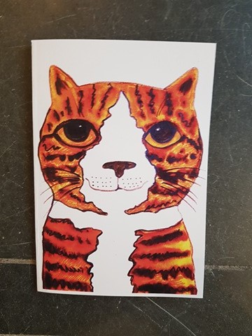 ginger cat, notebook, A5 notebook, illustration, cat artwork, jane adams, pawprint designs, cornwall