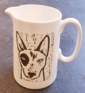 china jug, pint jug, large jug, linocut design, english bull terrier, dog presents, jane adams ceramics, cornwall, st just, pawprint designs