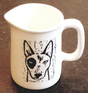 small jug, cream jug, tiny jug, white china, linocut, linocut designs, english bull terrier, jane adams ceramics, cornwall, st just, pawprint designs
