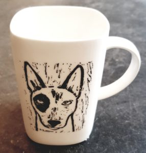 square mug, china mug, english bull terrier mug, engish bull terrier pottery, english bull terrier linocut, pawprint designs, jane adams, handmade, decal, pottery, cornwall