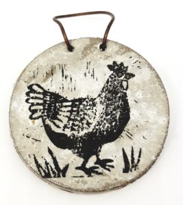 wall hanging, grey glaze, chicken design, linocut, paw print designs, chicken artwork, jane adams ceramics, cornwall, handmade studio pottery, stoneware