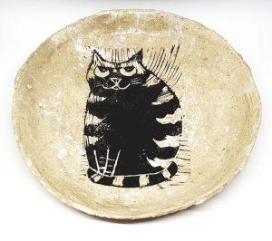 bowl, round bowl, ceramic bowl, handmade ceramic bowl, stripey cat, linocut, jane adams, pawprint designs