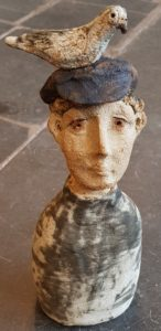 flat cap, handmade, ceramics, studio pottery, ceramic figures, character ceramics, pigeons, jane adams ceramics, ceramic people