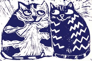 valentines day, greetings cards, cats, linocut, artcards, jane adams ceramics, blue