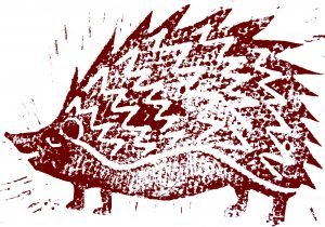 greetings card, birthday card, hedgehog, linocut, jane adams