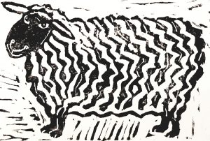 card, birthday card, sheep, linocut, jane adams ceramics