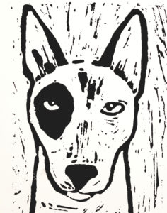 birthday card, greetings card, english bull terrier, dog, linocut, jane adams ceramics