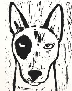 birthday card, greetings card, english bull terrier, dog, linocut, jane adams ceramics