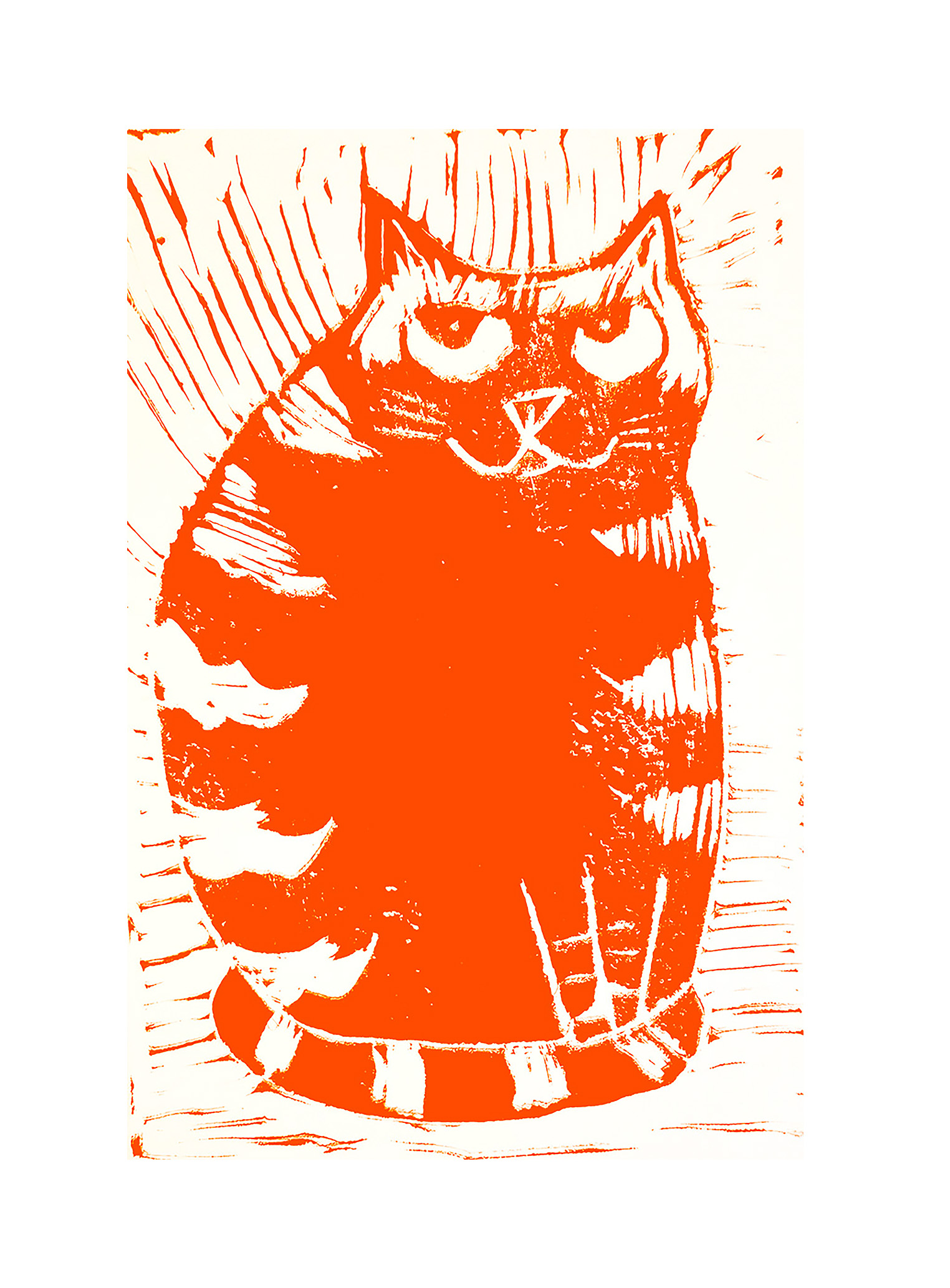 Greetings Card Birthday Ginger Cat Themed Cards Linocut