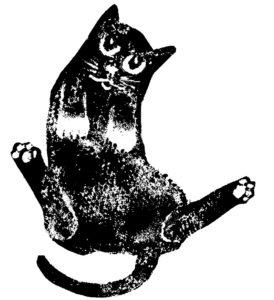 card, birthday card, black cat, linocut, greetings card