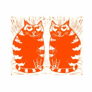 birthday card, ginger cat, cat themed, greetings card, card, blank card, jane adams .linocut