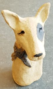 english bull terrier, ceramic dogs, bull terrier, clay dogs, pottery dogs, dog ornament, jane adams ceramics