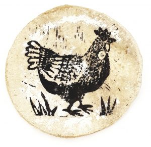 coaster, ceramic coaster trinket dish, linocut chicken design, jane adams ceramics, hanmade coasters, pottery coasters