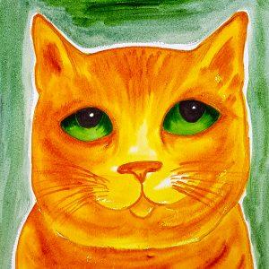 card, cards, cat, cat cards, birthday card, greetings cards, original watercolour, jane adams