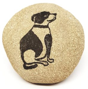 pebble, clay pebble, paperweight, dog themed, dog design, linocut, natural stoneware, handmade, jane adams ceramics