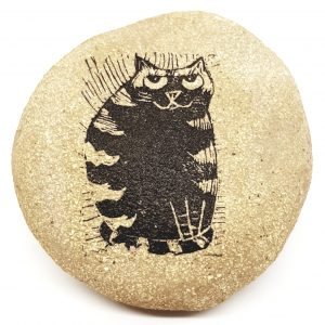 pebble, pebble paperweight, clay pebble, cat themed, cat design, linocut, jane adams ceramics