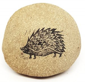 pebble, paperweight , natural clay, hedgehog, linocut, jane adams ceramics