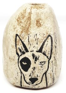 vase, handmade vase, pebble vase, small vase, cream vase, english bull terrier, dog themed, jane adams ceramics,