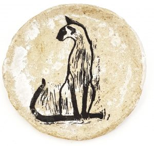 large round plate, round plate, plate, dish, trinket dish, cream glaze, handmade stoneware, handmade plate, siamese cat, linocut, pawprint designs, jane adams ceramics,