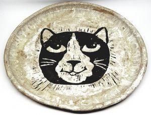 plate, ceramic plate, handbuit plate, hanmade ceramics, black and white cat, cat design, pawprint designs, jane adams ceramics