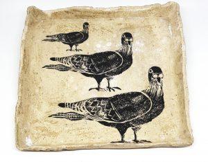 trinket dish, dish, handmade dish stoneware, studio pottery trinket dish, square plate, cream glaze, pigeons, jane adams ceramics, pawprint designs