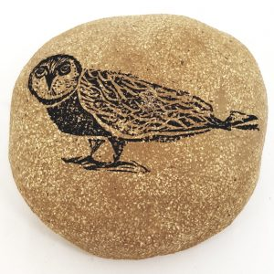 stoneware pebble, ceramic pebbles, handmade pebblesm owl theme, jane adams ceramics
