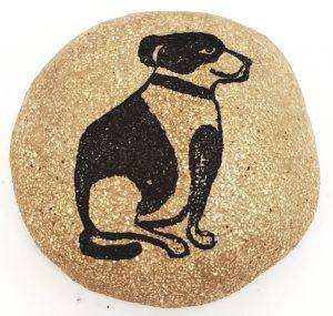 ceramic pebbles, clay pebbles, paperweight, linocut, jane adams ceramics, dog themed, gift,