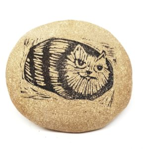 clay pebble, pebble, paperweight, pebble paperweight, linocut, cat design