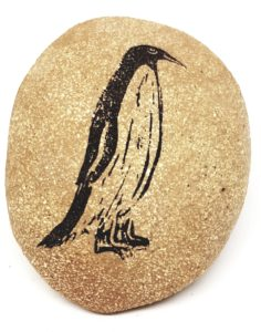 pebble, clay pebble, pebble paperweight, paperweight, linocut, penguin, jane adams