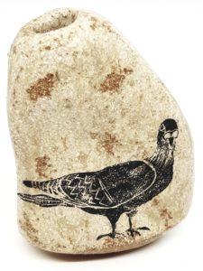 pebble vase, pebble vase, pigeon, linocut, jane adams ceramics
